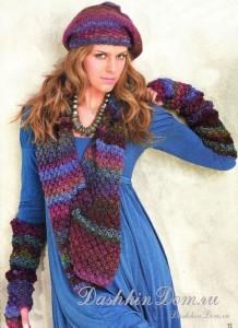 Описание вязания спицами комплекта - берет, шарф и митенки.