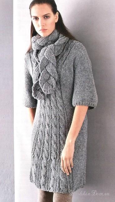 Вязаное платье косами с описанием