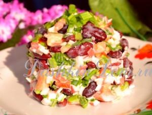 острый салат с фасолью