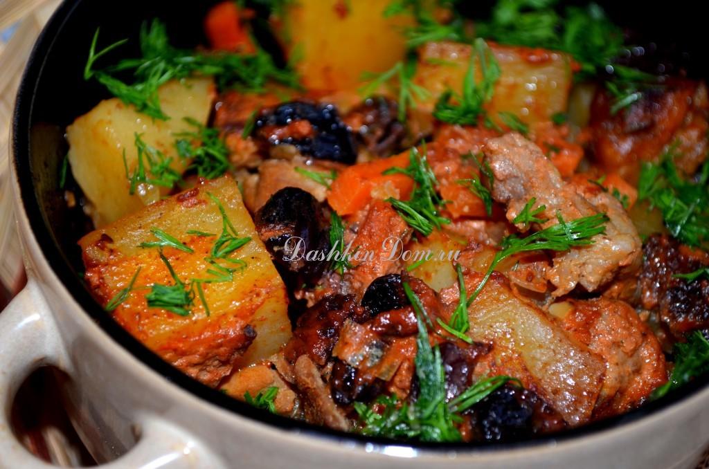 горшочки с мясом и изюмом