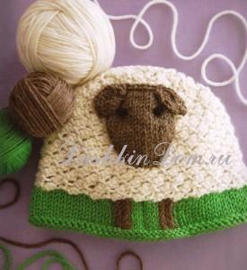 вязаная шапочка с овечкой