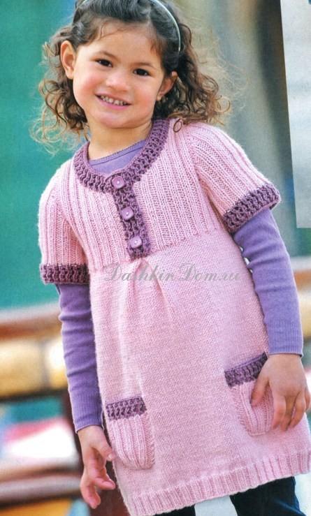 Вязаные платья для девочки 5-6 лет