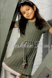 вязаное платье с ажурной юбкой