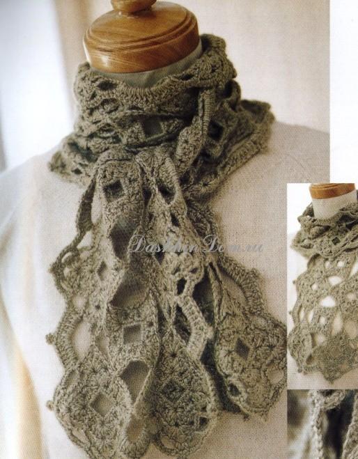 вязаные шарфы крючком 15 моделей с описанием