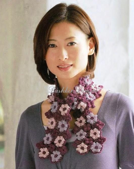 шарф из цветов крючком схема