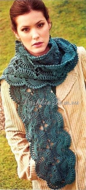 красивый вязаный шарф крючком