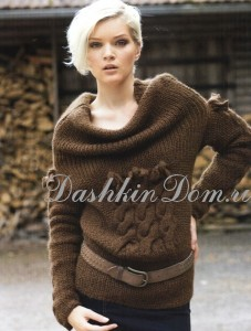 вязаный пуловер с большим воротником