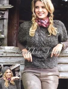 серый пуловер и шапка спицами