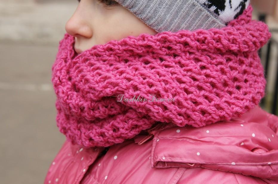 Вязание для детей шапочка и снуд мастер класс8
