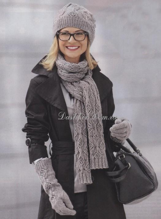 Вязанные комплекты шапка шарф варежки