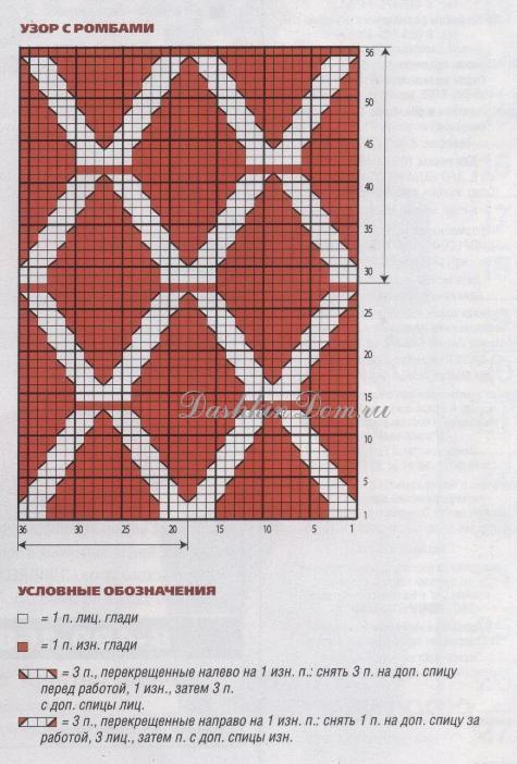 Рисунки из ромбов вязание схемы 82