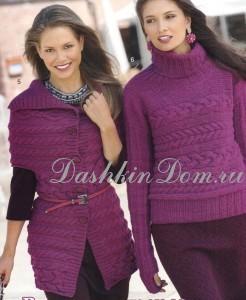 вязаный жилет и пуловер спицами