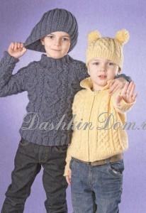пуловер и шапочка для мальчика спицами