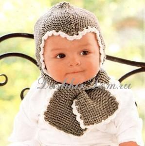 вязаная шапочка спицами для мальыша