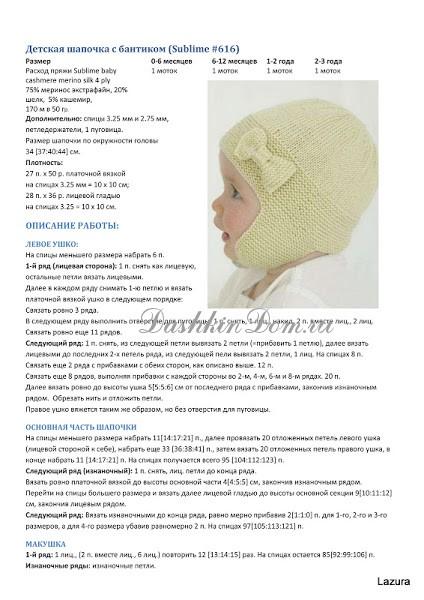 Схемы зимних шапочек для новорожденных